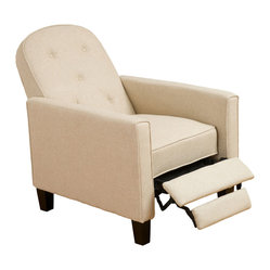 Great Deal Furniture - Miller Beige Fabric Recliner Chair - Relax in your very own recliner club chair upholstered with soft and cozy fabric. Enjoy the dual-function that features both a foot extension as well as a reclining back. Chair is great for small spaces creating a great place to take a nap or watch TV.