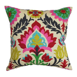"The Pillow Collection - Tahsis Floral Pillow Multi - Vivid colors lend a joyous and festive vibe to this accent pillow. With shades of pink, red, natural, green and blue, this square pillow will instantly lighten up your interiors. The floral pattern provides texture and dimension to this decor pillow. This throw pillow is ideal for home and office use. You can pair this 18"" pillow with a matching pattern or solids. Made from 100% plush and soft cotton fabric. Hidden zipper closure for easy cover removal.  Knife edge finish on all four sides.  Reversible pillow with the same fabric on the back side.  Spot cleaning suggested."