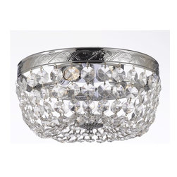 """French Empire Crystal Flush Chandelier Chandeliers Lighting H5"""" X W13"""" - This beautiful Chandelier is trimmed with Empress Crystal(TM)"""