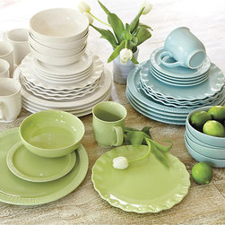 Ballard Designs - 20pc Dinnerware - Durable stoneware. Dishwasher & microwave-safe. Available in four mix & match colors. When designing this summery collection, we wanted the pieces to relate, but still feel different from one another, like a well-edited collection. The Dinner Plate has a traditional fork-pressed piecrust edge; Salad/Dessert has a pinched-ruffle edge. Bowl is simple and shallow, the perfect shape for summer soups and salads. Create your own eclectic look by mixing and matching colors and shapes. Dinnerware features: . . .
