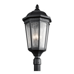 Kichler Lighting - Kichler Lighting 9533BKT Courtyard Traditional Outdoor Post Lantern Light - Uncluttered and traditional, this 3 light outdoor mounted post from the Courtyard&trade: collection adds the warmth of a secluded terrace to any patio or porch. Featuring a Textured Black finish and Etched Seedy Glass, this design will elevate and enhance any space.