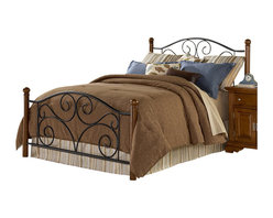 Fashion Bed - Fashion Bed Doral Metal Poster Headboard in Black and Walnut-Queen - Fashion Bed - Headboards - B92275 - The Doral is a charming headboard of simple yet elegant design and a combination of materials. The headboard has metal grills finished in a textured Matte Black powder coat for long life and care-free maintenance and sturdy solid-wood posts. The posts are finished in Walnut a medium tone wood color which will blend with many decors. The Doral's clean unadorned design makes it the perfect to blend with many decors.