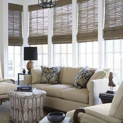 Woven Wood Shades - Woven Wood shades are a beautiful way to add depth of texture to your space.  They are typically used as stationary accent treatments, however motorization woven woods are now available. Great look that is versital in style!