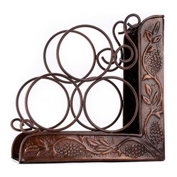 "Old Dutch International - Antique Embossed  ""Heritage"" 3 Bottle Wine Rack Bookend - Store your finest vintages in style. This impressive wine rack made of copper-finished steel holds three bottles and serves as a beautiful bookend too."