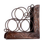 "10¼"" x 4¾"" x 10¼"" Ant. Emb. ""Heritage"" 3 Bottle Wine Rack Bookend"