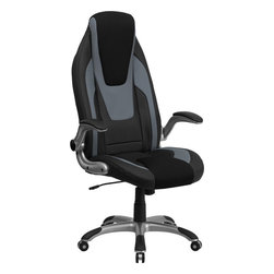 Flash Furniture - Flash Furniture High Back Black and Gray Vinyl Executive Office Chair - This contemporary ergonomic high back swivel office chair features flip up arms and a silver nylon base with black caps that prevent feet from slipping. The black vinyl upholstery is highlighted with gray vinyl and black mesh insets in the headrest and seat to give this a unique look to make your chair stand apart.