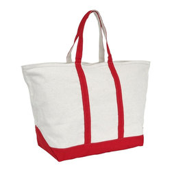 Mercury Luggage - Zipper Top Boat and Beach Tote in Red - 24 oz. cotton canvas tote with 8.5 inch handles. Full length zippered top. Stand alone reinforced flat canvas bottom. Double stitched seams for durability and strength. 17 in. L x 10.5 in. W x 19 in. H