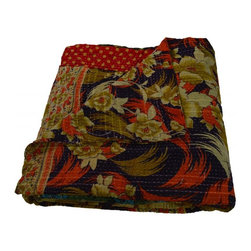 Modelli Creations - Vintage Reversible Kantha Throw With Floral Desing In Red, Black And Beige - Vintage reversible kantha throw with floral desing in red, black and beige.