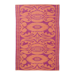 KOKO - India Area Rug - 4' x 6' - Mauve/Rust - While the pattern may recall traditional Indian design, the fabrication of this indoor/outdoor mat is thoroughly modern. It defies mold and mildew and cleans in a snap — simply hose off and drip dry.