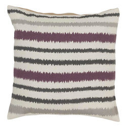 "Surya - Surya AR-105 Vertical Stripes Pillow, 18"" x 18"", Down Feather Filler - Looking to add a fun, upbeat style sure to spice up your space? Destined to transform your room, this quirky piece puts an exciting twist on the classic striped pattern. The purple, cream, and gray coloring comes together in perfect harmony, redefining luxury, crafting an elegant piece that possesses instant charm. This pillow contains a zipper closure and provides a reliable and affordable solution to updating your home's decor. Genuinely faultless in aspects of construction and style, this piece embodies impeccable artistry while maintaining principles of affordability and durable design, making it the ideal accent for your decor."