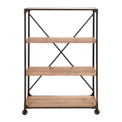 Benzara - Portable Metal Wood Shelf 63in.H, 40in.W - Size: 40 in. x18 in. x63 in.  Made with solid wood and iron alloy