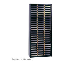 "Safco - Value Sorter Literature Organizer, 72 Compartment - Black - Value Organization! To organize effectively you need the right tools for the right space. The Value Sorter will improve neatness and is a great addition to any mail room, office, school or store. Use compartments as a mailbox, material holder or stationary sorter. The steel shell comes complete with support shelves and a solid fiberboard back to ensure stability and durability. Compartments are formed with heavy-duty corrugated fiberboard. Unit has over-sized compartments that comfortably hold up to 550 sheets of letter-size paper. Compartments are wide enough to easily accommodate letter-size file folders. Wide shelf fronts have built-in label holders (labels included).; Features: Material: Steel (shell, support shelves), Corrugated Fiberboard (shelves); Color: Black; Finished Product Weight: 59 lbs.; Assembly Required: Yes; Tools Required: Yes; Limited Lifetime Warranty; Dimensions: 32 1/4""W x 13 1/2""D x 75""H"