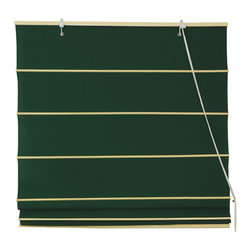 Cotton Roman Shades, Dark Green - I would rather see these green Roman blinds hanging in my window than the dull gray cityscape that's outside.