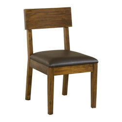 Modus Furniture International - Alba Solid Wood Dining Chair with Recycled Leather Seat - With it natural timber, heavy solid wood construction, crisp lines and hand distressing, the Alba dining collection offers rugged contemporary styling with a hat tip to mid-century modern design.