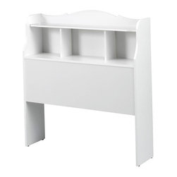 "Nexera - Dixie Twin Size Bookcase Headboard in White lacquer & melamine - The Dixie bedroom collection was designed with your Princess in mind and constructed from quality engineered - wood, giving it great strength and durability. The surfaces, drawer fronts and mouldings have a rich & soft white lacquer finish and the sides are covered with a rich white laminate finish. The fresh clean lines, rounded edges and convenient storage spaces of the Dixie collection make it the perfect choice for your childs bedroom. The twin bed accommodates a twin 39 in. mattress (not included). The open storage compartment at the foot of the bed is ideal for baskets, books, shoes and other personal belongings. A large storage drawer on casters under the bed can be fully opened from either side to maximize storage space. ;Features: Twin Size Bookcase Headboard;Bookcase headboard for Twin Size Bed ;Collection: Dixie;Finish: White lacquer & melamine;Weight: 40 lbs.;Dimensions: 42.375""W x 10.5""D x 45""H"