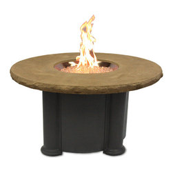 The Outdoor Greatroom - Colonial Dining Height Gas Fire Pit Table With Mocha Supercast Top - Truly a table for entertaining, the Colonial dining height fire pit table is made from durable Supercast and has a matching removable burner cover. Both functional and beautiful, this magnificent fire pit table is built to last for years. This fire pit table comes with a matching cover for the round 20 inch stainless steel Crystal Fire Burner. Light up the night and add warmth to your outdoor space. These burners are made from high quality stainless steel and include tempered, tumbled glass, an LP hose and regulator, a metal flex hose, a gas valve, and a push button sparker. With just a push of a button, a beautiful clean-burning fire appears atop a bed of highly reflective Diamond glass fire gems. All burners are shipped with orifices for LP or NG fuels and are UL approved for safety and quality. Adjust the flame height to your desired setting and enjoy the magic and ambience of a warm glowing fire.
