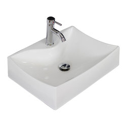 American Imaginations - 21.5-in. W x 16-in. D Wall Mount Rectangle Vessel - It features a rectangle shape. This vessel is designed to be installed as an wall mount vessel. It is constructed with ceramic. It is designed for a single hole faucet. This vessel comes with a enamel glaze finish in White color.