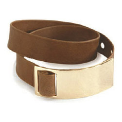 Frontgate - Leather Wrap Bracelet - Made of premium-grade leather. Gold tone buckle. Adjustable leather strap. In Black, Camel, Gold. Sophisticated and elegant, our Leather Wrap Bracelet features a gold tone buckle and dresses up or down, day or night. The perfect finishing touch to any ensemble, this adjustable leather strap wraps twice around the wrist.  .  .  .  .