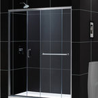 "DreamLine - DreamLine Infinity-Z Frameless Sliding Shower Door and SlimLine 30"" - This kit combines the INFINITY-Z shower door with a coordinating SlimLine shower base, perfect for a bathroom renovation or tub-to-shower conversion project. The INFINITY-Z pairs a sliding shower door with a stationary glass panel to provide a comfortably wide shower entry. The stationary panel is fitted with a convenient towel bar that doubles as a handle. The SlimLine shower base completes the look with a low profile design for a sleek modern look. Choose this efficient and cost effective DreamLine shower kit to completely transform a shower space. Items included: Infinity-Z Shower Door and 30 in. x 60 in. Single Threshold Shower BaseOverall kit dimensions: 30 in. D x 60 in. W x 74 3/4 in. HInfinity-Z Shower Door:,  56 - 60 in. W x 72 in. H ,  1/4 (6 mm) clear tempered glass,  Chrome or Brushed Nickel hardware finish,  Frameless glass design,  Width installation adjustability: 56 - 60 in.,  Out-of-plumb installation adjustability: Up to 1 in. per side,  Anodized aluminum profiles and guide rails,  Convenient towel bar on the outside panel,  Aluminum top and bottom guide rails may be shortened by cutting up to 4"",  Door opening: 21 3/8 - 25 3/8 in.,  Stationary panel: 27 in.,  Reversible for right or left door opening installation,  Material: Tempered Glass, Aluminum,  Tempered glass ANSI certified30 in. x 60 in. Single Threshold Shower Base:,  High quality scratch and stain resistant acrylic,  Slip-resistant textured floor for safe showering,  Integrated tile flange for easy installation and waterproofing,  Fiberglass reinforcement for durability,  cUPC certified,  Drain not included,  Center, right, left drain configurationsProduct Warranty:,  Shower Door: Limited 5 (five) year manufacturer warranty ,  Shower Base: Limited lifetime manufacturer warranty"