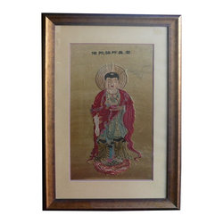 Golden Lotus - Chinese Hand Embriodery Buddha Frame Display - This is a silk base hand embriodery art work of Chinese Buddha statue. It is framed for easy storage and display. The silk surface is not perfect. It is a good collection piece as well as religious display.