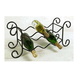 """Grace Collection - 6 Bottle Wrought Iron Wine Rack (Gun Metal) - Finish: Gun MetalThis gorgeous iron rack is so pretty you'll want it in all twelve metal finishes!  Twelve choices of rich finish color on this wrought iron constructed wine rack make it the perfect accent for any room, regardless of your décor.  Sturdy storage for six bottles of your favorite wine with the latest in beautiful design elements.  When you need countertop top access or want to create a decorative display, this wine rack is a great choice.  This is an elegant piece that can go contemporary or casual, too. * Wrought iron construction. Many metal finish options available. 23"""" L x 8"""" D x 12"""" H in.. Weight: 8 lbs."""