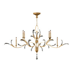 Fine Art Lamps - Beveled Arcs Gold Chandelier, 761840ST - Curving vine-like gold arms accented with arcing beveled crystal leaves lend this candelabra chandelier a graceful, art nouveau feel. The low-profile horizontal design keeps it light and gives you lots of options for placement. How about at the head of the bed, or over a long dining table?