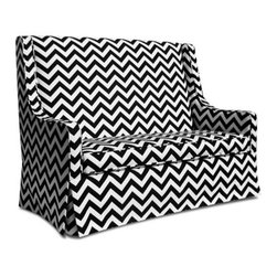 Jennifer Delonge Furniture Luxe Child Sofa - Every child would love a mini couch is the room, right? And why not in chevron? It is the perfect size for two kids.