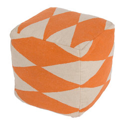 "Jaipur Rugs - Orange/Ivory Handmade 100% Cotton Pouf (16""X16""X16"") - En Casa by Luli Sanchez is a collection that offers coordinating Pillows, Poufs and Rugs. Woven in 100% cotton these poufs are boldly patterned and freshly colors for a bit of kick or splash of modern."