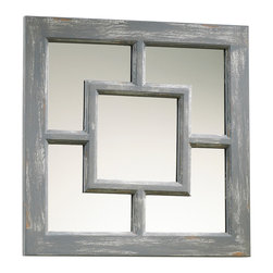"Kathy Kuo Home - Ashbury Gray Wash 17"" Cottage Style Square Mirror - Rustic meets sophisticate in the neutral tones and chic geometry of this gray mirror.  Bridging elements of farmhouse and feng-shui, this classic multiplies existing light with a relaxed, easy style."