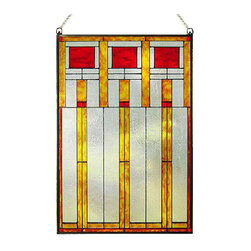 """Maclin Studio - Arts and Crafts Prairie Squares Red Art Glass Panel - Our striking new Prairie Squares Red Art Glass Panel is hand made in the USA with a color palette of Reds, Gold Ambers and Frosted Clear. Ht: 20.5"""" W: 14"""". On this glass panel, enamel colors are individually applied to a single sheet of glass giving each panel unique aspects of both color and texture. The glass is then framed with a patinated metal came and comes complete with mounting chain."""