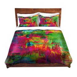 DiaNoche Designs - Duvet Cover Microfiber by Julia Di Sano - Washed Rainbow - DiaNoche Designs works with artists from around the world to bring unique, artistic products to decorate all aspects of your home.  Super lightweight and extremely soft Premium Microfiber Duvet Cover (only) in sizes Twin, Queen, King.  Shams NOT included.  This duvet is designed to wash upon arrival for maximum softness.   Each duvet starts by looming the fabric and cutting to the size ordered.  The Image is printed and your Duvet Cover is meticulously sewn together with ties in each corner and a hidden zip closure.  All in the USA!!  Poly microfiber top and underside.  Dye Sublimation printing permanently adheres the ink to the material for long life and durability.  Machine Washable cold with light detergent and dry on low.  Product may vary slightly from image.  Shams not included.
