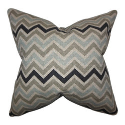 The Pillow Collection - Howel Zigzag Pillow Gray - Liven up your space with this decor pillow. This statement piece features a zigzag pattern in shades of gray, blue, and natural. Toss this accent pillow to your sofa, bed or couch together with other home accessories. Made of 100% high-quality cotton fabric and crafted in the USA.