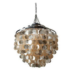 Round Chandlier with Capiz Shells, Gold Hue