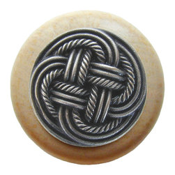 By the Shore - Classic Weave Natural Wood Knob in Antique Pewter