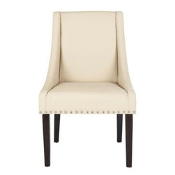 Safavieh - Britannia Kd Side Chairs (Set Of 2) - White - The clean lines, exposed nickel nail heads and gracefully sloped arms of the cream-colored leather clad Britannia, with legs in an espresso finish, dress up any dining setting. Slightly tapered legs, crafted from sturdy birch wood, and the upholstered seat and backrest ensure comfort of Britannia.
