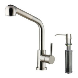 Vigo VG02019STK2 Single Handle Pull Out Kitchen Faucet with Dispenser - The Vigo VG02019STK2 Single Handle Pull Out Kitchen Faucet with Dispenser has a sleek modern look that installs easily for a convenient water source that's never in the way. The unit is made from solid brass and is protected with a tarnish- and corrosion-resistant stainless-steel finish. The spout face is design to reduce mineral buildup and is a snap to clean. A push-button feature lets you switch between a regular aerated flow and a powerful spray option that's great for rinsing dishes. Designed with a 30-inch extension and a full 360-degree swivel you'll never find yourself wanting for reach. A matching soap dispenser is included featuring a self-priming design and a 10oz reservoir that's great for liquid soap dishwasher detergent or hand lotion. The faucet has an average output of 2.2GPM and is rated with an industry-standard pressure. All necessary mounting hardware is included. The unit is tested and certified ADA compliant. Product Specifications: ADA Compliant: Yes Low Lead Compliant: Yes Flow Rate: 2.2 GPM Handle Style: Lever Mount: Deck mount Valve Type: Ceramic Disc Swivel: 360 degrees Filter: No Spout Height: 13.75 inches Spout Reach: 8.0 inches About Vigo Industries LLCFounded just over a decade ago in Rahway N.J. Vigo Industries has established a reputation for offering attractive affordable innovative and durable kitchen and bath products. From faucets and sinks to shower enclosures and bathroom vanities Vigo's products are designed with state-of-the-art engineering that combines efficiency and elegance. Vigo's engineering and design teams always look ahead to fulfill the ever-evolving needs and tastes of consumers bringing them the latest styles and trends without compromising quality.