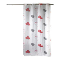 """Evideco - Printed Sheer Grommet Curtain Panels Alizee Red - """"This attractive printed sheer window curtain panel ALIZEE with grommets adds a lush flower decor to any living room. 100% polyester, sold individually, 55""""""""W x 95''L, this printed red and gray flower voile panel works well alone or layered with coordinatin"""""""