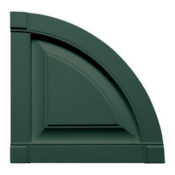 """Builders Edge - Raised Panel Design Round Tops in Forest Gree - Provides distinctive styling for standard shutters. Constructed with color molded-through vinyl so they will not scratch, flake, or fade. Durable, maintenance-free U.V. stabilized, deep wood grain texture. Made in the USA. For use with Builders Edge 15"""" Standard Raised Panel Shutters only. 14.75 in. W x 1 in. D x 14.75 in. H (1.69 lbs.)"""