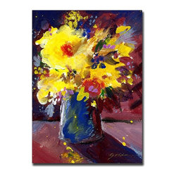 Trademark Art - Yellow Flowers by Sheila Golden Abstract Stil - Choose size: 18 in. x 24 in.Artist: Sheila Golden. Title: Red Flowers. Style: Traditional. Format: Vertical. Subject: Floral. Ready to Hang!. 18 in. W x 24 in. L. 35 in. W x 47 in. LSheila Golden grew up in New York, attending the School of Visual Arts and the New School of Social Research in New York City, then worked in graphic design and illustration. After a move to California, she studied film animation, lithography and ceramics, and received her bachelor's degree in fine art. While living in California, Sheila became an important member of Artrails Open Studios and a guest artist in various schools, teaching classes on watercolor collage. In 1996, Sheila was chosen as an artist-in-residence at the well-regarded Buena Vista Winery in Sonoma.Sheila Golden has combined her multiple skills and talents to translate her love of nature into painting and collage. Her artwork is strongly influenced by the masters: Matisse, Chagall and Kandinsky, along with the great Abstract Expressionists. Sheila's commercial resume includes background art for Sesame Street, KQED Television, Hallmark, American Greetings and Sunrise Cards, among others, and is available in children's books, posters, prints, greeting cards and gift products. Her original watercolors and watercolor collages are exhibited in numerous juried art shows around the country and her work is represented in private as well as corporate collections in major cities like New York, Chicago, Washington, D. C., San Francisco, Hong Kong, Italy and Germany.