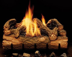 "Majestic Charred Hickory Vent Free Gas Log Set - The Majestic Charred Hickory Vent Free Gas Log Set is a fireplace insert that even founding father Andrew Jackson could get behind. Nicknamed """"Old Hickory"""" because of his toughness Jackson would appreciate the surprising durability of these logs as well as their good old fashioned look. Each log is hand painted to achieve a more authentic look while the ceramic fiber construction is intended to produce reflective light and heat adding to the efficiency of the flame. As charming as they are traditional fireplaces can be a hassle to use becoming little more than a neglected room accent. Toting wood regular cleaning and constant tending can take away from the enjoyment of a cozy fire. But this gas log set allows you to transform that rarely used chimney into a cherished part of your home's activities. Or in the absence of any chimney at all this burner set is also rated for vent-free use so any fireplace will do with no need for major reconstruction to your home. Whether cuddling up with someone close or enjoying a quiet fireside book by yourself this fireplace insert lets you set the proper mood and environment quickly without any fuss or muss. The included crushed volcanic rock and grate add another uniquely authentic touch to the real-wood-looking flame. The dual EYF burner with a beautiful yellow front and rear flame produces 19 000 to 36 000 BTUs to help efficiently heat your home and reduce heating costs. Note: Vent-free products are not approved for use in Canada and some states. Please check your local codes regarding vent-free products. A licensed contractor should be contacted for installation of all products involving gas lines. About MajesticFor over 50 years Majestic has crafted a name synonymous with quality wood and gas fireplaces for the home. With a vast array of products and styles including wood electric modern and traditional Majestic has something for every taste and decor. Majestic products are built to last offering a quality construction and innovative design structure that has made them a premier choice for homes across North America and beyond."