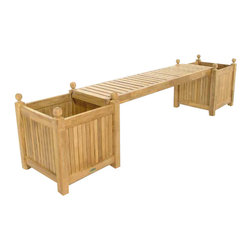 Westminster Teak Furniture - Westminster Double Teak Planter Bench - Teak Planter Bench consisting of 2 18.5 x 18.5 Teak Planters and 1 Teak Seat Panel, perfect for that little niche in the garden, or on your patio. Makes for unique and comfortable garden sitting.