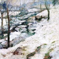 """John Twachtman Frozen Brook - 16"""" x 24"""" Premium Archival Print - 16"""" x 24"""" John Twachtman Frozen Brook premium archival print reproduced to meet museum quality standards. Our museum quality archival prints are produced using high-precision print technology for a more accurate reproduction printed on high quality, heavyweight matte presentation paper with fade-resistant, archival inks. Our progressive business model allows us to offer works of art to you at the best wholesale pricing, significantly less than art gallery prices, affordable to all. This line of artwork is produced with extra white border space (if you choose to have it framed, for your framer to work with to frame properly or utilize a larger mat and/or frame).  We present a comprehensive collection of exceptional art reproductions byJohn Twachtman."""