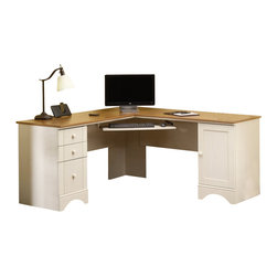 Sauder - Sauder Harbor View Corner Computer Desk in Antiqued White - Sauder - Computer Desks - 403793 - Sure lots of office and home furnishing manufacturers can help you create an organized comfortable and fashionable place to live. But Sauder provides a special kind of furniture that is practical and affordable as well as attractive and enduring. As North America's leading producer of ready-to-assemble furniture we offer more than 500 items that have won national design awards and generated thousands of letters of gratitude from satisfied consumers.