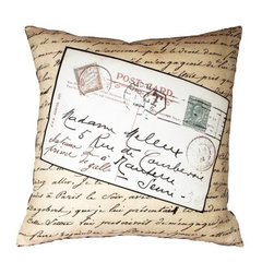 "Uptown Artworks - French Vintage Postcard Pillow - Features: -Material: Natural cotton / linen. -We recommend spot-cleaning or wash in cool water with phosphate-free detergent. -Zipper closure, plush feather and down insert. -Made in the United States. -Eco-friendly. -Overall dimensions: 20"" H x 20"" W, 2 lbs."