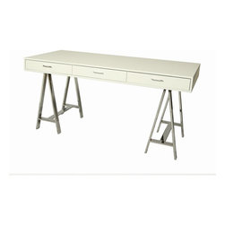 """Pastel Furniture - Pastel Furniture Fountainbleau 62x28 Rectangular Office Desk in White - The Fountainbleau Desk with 28"""" x 62"""" rectangular wood top features three self closing drawers. Its clean-lined Chrome metal frame and Matte White or Walnut wood finish is a unique yet simple design perfect for any office space. The desk can be paired beautifully with any office chair."""
