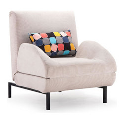 Cement Body & Color Block Back Cushion Conic Arm Chair Sleeper - This cement body arm chair sleeper with color block back cushion by Zuo Modern has an steel frame finish and is from their Conic collection. It's the perfect arm chair sleeper to compliment any bedroom or living room!