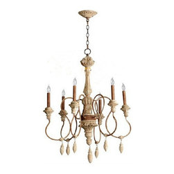 Country Antique Rusted Metal and Wood Chandelier -