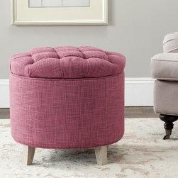 Safavieh - Safavieh Rose Reims Rose Storage Ottoman - This pink storage ottoman by Reims doubles as a comfortable footrest and storage space in a rose-colored viscose blend fabric that brightens up any living room. The storage ottoman features solid birch legs with a light gray finish.