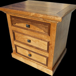 Rawhide 3-Drawer Nightstand - Nightstand shown has a golden oak stain and black hammered square drawer pulls.  Can be customized to your liking!