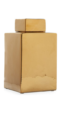Kathy Kuo Home - Modern Gold Porcelain Square Large Lidded Temple Jar - No ordinary pot of gold, this square lidded temple jar is a modern-day treasure. It has a hand-painted metallic finish that adds instant glam to your Hollywood Regency living room or a touch of elegance to your French Country estate.